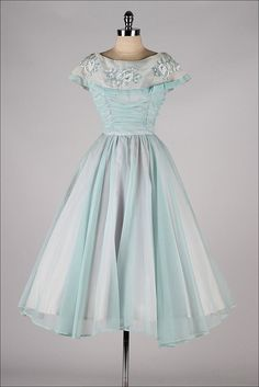 vintage 1950s dress . powder blue chiffon . embroidered bow collar