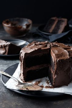 Your new favorite chocolate cake recipe is here! Dark, fudgy and ultra-moist chocolate layer cake slathered with a dark chocolate fudge frosting that's ultra rich and not too sweet. Dare I say it's the best chocolate cake, ever? Frosting Recipes, Cake Recipes, Dessert Recipes, Yummy Recipes, Cooking Recipes, Chocolate Fudge Frosting, Chocolate Recipes, Cake Chocolate, Chocolate Chips