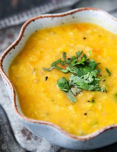 Indian dal is so easy to make! Perfect to serve with flatbread or naan. Made with red lentils, onions, garlic, spices, tomato. #Healthy #Vegan On SimplyRecipes.com