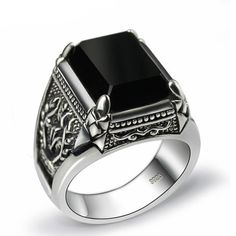Black Onyx Luxury Silver Ring