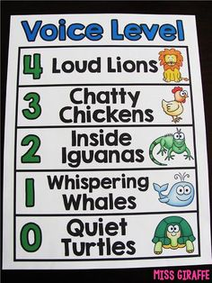 Voice Level Chart that is animal themed and fun to keep classroom noise under control - click to read how she uses this!