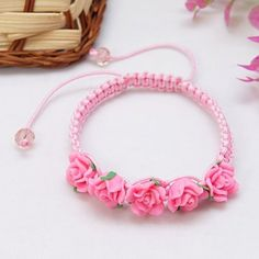 Fashion Shamballa Bracelet, with Glass Beads, Resin Beads and Nylon Thread, HotPink, 53mm