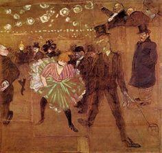Le Goulue Dancing with Valentin-le-Desosse  Henri de Toulouse-Lautrec  Media Oil  Style Art Nouveau  Subject Dance