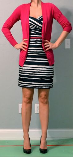 Top: Bright pink cardigan - Old Navy Dress: Navy striped dress - H  Shoes: Black patent heels - Mossimo from Target Accessories: Bright pink belt - Ann Taylor Loft