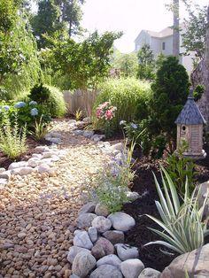ideas for future patio area on unlevel side yard slope ... on Unlevel Backyard Ideas id=99269