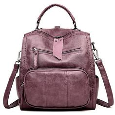 Soft PU Leather Multi-function Handbag Large Capacity Backpack Girl  Backpacks 177ba1648f70c