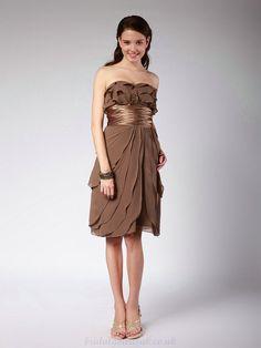 Chocolate bridesmaid dresses | Buy cheap Brown Chiffon Bridesmaid Dress with Tiered Ruffle