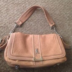 Large lamb leather nude purse bag Large leather lamb bag silver hardware blk and white fabric lining bag is in good condition has 3 interior pockets leather pipping needs tlc many years left Lamb Bags Shoulder Bags
