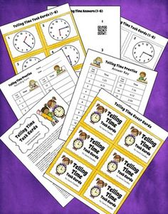 FREE Telling Time Task Cards from Laura Candler - A complete set of 24 task cards and answers! Download free QR codes to go with them using a link on this page.