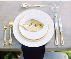 Tabletop Tuesday || Ivory Basket Weave China + Barcelona Gold China + Gold Lyons Flatware + Pure Glassware http://instagram.com/p/r46yHOwkDW/?modal=true