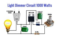 Light dimmer circuit is used to Control the light as you want. This circuit is very power full using and some other components with pot Electronics Projects For Beginners, Electronics Mini Projects, Simple Electronics, Electrical Projects, Simple Electronic Circuits, Electronic Circuit Design, Electronic Engineering, Chemical Engineering, Electrical Engineering