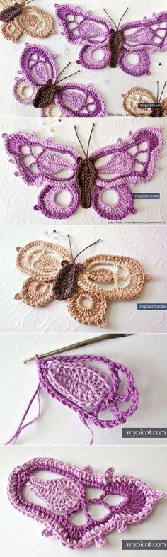 Luty Artes Crochet: Borboleta de crochê Crochet Butterfly, Crochet Mandala, Freeform Crochet, Irish Crochet, Crochet Flowers, Knit Crochet, Crotchet, Borboleta Crochet, Crochet Rabbit