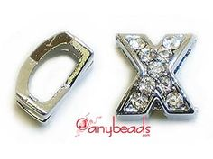 """Alphabet """"X"""" Slide Charm with Crystal Rhinestones. Create your own unique personalized name bracelet."""