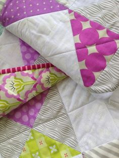 Modern baby quilt for girl / gray & pink on Etsy, $130.00