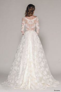 eugenia couture fall 2016 bridal 3 quarter sleeves v neckline lace embroider bodice a line full skirt wedding dress style katherine -- Eugenia Couture Fall 2016 Wedding Dresses Couture Wedding Gowns, 2016 Wedding Dresses, Wedding Dress Styles, Wedding Attire, Bridal Dresses, Dress Vestidos, Wedding Dress Sleeves, Bridal Collection, Signature Collection