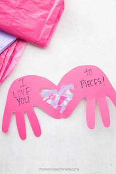 I Love You To Pieces Craft Handprint Card - this is so cute! Perfect for Valentine's Day or Mother's Day handprint card for kids to make. #handprint #kidscraft via @bestideaskids