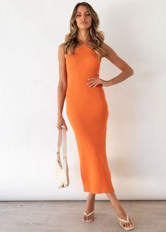 Skyler Halter Knit Midi Dress - Tangerine Gingham, Hue, Neckline, Cold, Orange, Knitting, Model, Outfits, Dresses