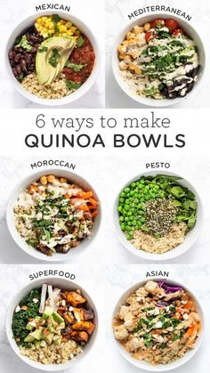 Here are 6 easy recipes for healthy quinoa bowls! These make delicious vegan, gluten-free lunch or dinner ideas. They're also great for meal prep too!