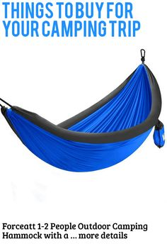 Forceatt 1-2 People Outdoor Camping Hammock with air Cushion, Portable, 210T high-Fiber Nylon Parachute Fabric, Maximum Load of 200 KG, Suitable for Camping, Hiking, Travel, Beach, Backyard (This is an affiliate pin) Camping Hammock, Outdoor Camping, Camping Furniture, Things To Buy, Fiber, Hiking, Cushions, Backyard, Beach