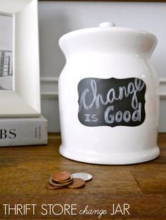 Turn a thrift store canister into a change storing masterpiece in 15 minutes!