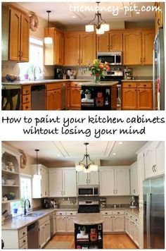 painting cabinets: how to order the tasks and tips to prevent damaging already-finished work Post by The Money Pit: How To Paint Your Kitchen Cabinets Without Losing Your Mind - - tå√ Painting Kitchen Cabinets, Kitchen Paint, Kitchen Redo, Kitchen Cupboards, Oak Cabinets, White Cabinets, Kitchen Ideas, Bathroom Cabinets, Basement Kitchen