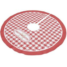 Houndstooth Pattern Monogram and Name -Persian Red Brushed Polyester Tree Skirt - Xmas ChristmasEve Christmas Eve Christmas merry xmas family kids gifts holidays Santa