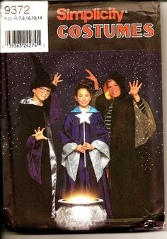 Simplicity Sewing Pattern 9372 - Boy or  Girl Wizard Costume -Wizard Hat - Sorting Hat - UNCUT -US Sizes: 7 -8 -10 -12 -14 by SunshineRd on Etsy