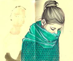 pretty sketch! girl scarf watercolour blue
