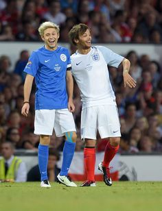 Louis Tomlinson and Niall Horan playing in Soccer Aid 2016