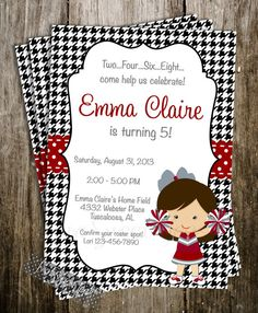 Alabama Cheer Cheerleader Invitations Inspired Dance Football Spirit Birthday Party Crimson Tide