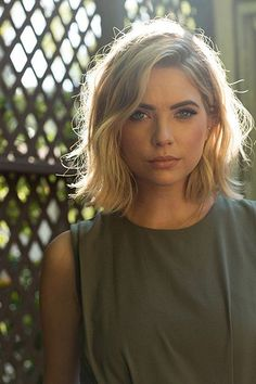 I  love Ashley Benson's hair color and style!!! I wonder if I can pull of having dirty blonde hair again?