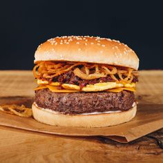 Burger of the month: Beef, cheddar, omelette, crispy onion, bacon jam & smoked BBQ
