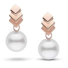 Escalier Collection White South Sea Pearl Earrings (3,485 PEN) ❤ liked on Polyvore featuring jewelry, earrings, accessories, brincos, 14 karat gold earrings, 14k pendant, south sea pearl earrings, white pendant and white earrings