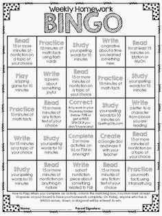 Homework Bingo                                                       …