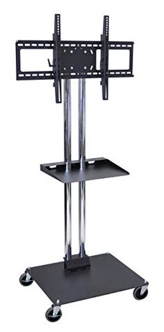 "Holds 37"" to 60"" Flat Panel TV's. 23 1/2""L x 27""W x 65""H. Two Heavy Duty Chrome Steel Tubes #with Black Powder Coated Base. Engineered for safety. The Heavy Duty..."