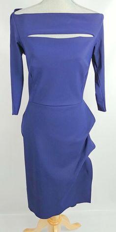 fd8cb2ef La Petite Robe di Chiara Boni Blue Ruffled Sheath Dress Size 46 Italy  #LaPetiteRobediChiaraBoni #