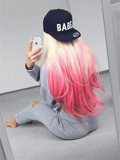 Ideas Hair Color Crazy Pink Blondes For 2019 Ombre Hair Color, Cool Hair Color, Ombre Style, Hair Colour, Blonde With Pink, Hair Color For Women, Dye My Hair, Synthetic Lace Front Wigs, Synthetic Hair