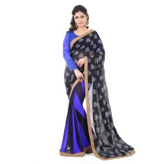 Faux Georgette Metalic Embo Printed Black & Blue Half & Half Saree - 34023