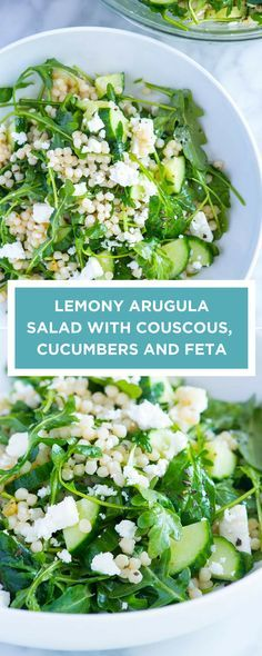 This lemony arugula and couscous salad is crave-worthy. Once you make it, you'll be itching to make it again. Lemony Arugula Salad with Couscous, Cucumbers and Feta Louella Mainka LouellaMainka FOOD This lemony arugula and couscous Vegetarian Recipes, Cooking Recipes, Healthy Recipes, Fast Recipes, Cooking Bacon, Cooking Turkey, Cooking Oil, Giada Cooking, Side Dishes