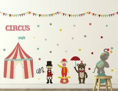 Transform your child's bedroom or playroom into a magical carnival wonderland with this fantastic circus wall sticker set!