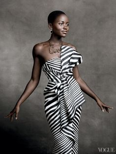 Lupita Nyong'o is flawless in a black and white striped asymmetrical gown