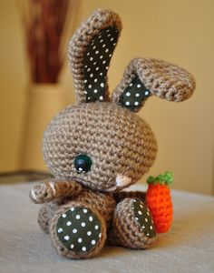 Crochet Bunny! Love the material on the feet and ears!