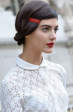 Red colored bobby pins - Cacharel AW 2012 hair