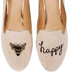C. Wonder Bee Happy Smoking Slipper in White (METALLIC NATURAL) - Lyst