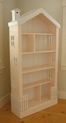Turn a bookcase into a dollhouse.