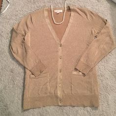 Micheal Kors gold sparkly cardigan NWOT. Beautiful Beige colored with gold running through to add sparkle. No tears, pulls or pilling MICHAEL Michael Kors Sweaters Cardigans
