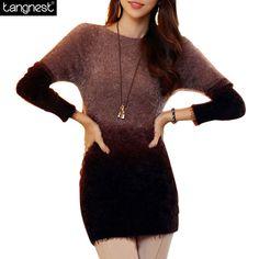 Tangnest miękkie moher sweter 2017 kobiety swetry z dzianiny swetry casual patchwork sweterek dzianina kontrast jumper wzm256