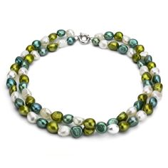 DaVonna Silver Double-row Multi FW Pearl Necklace
