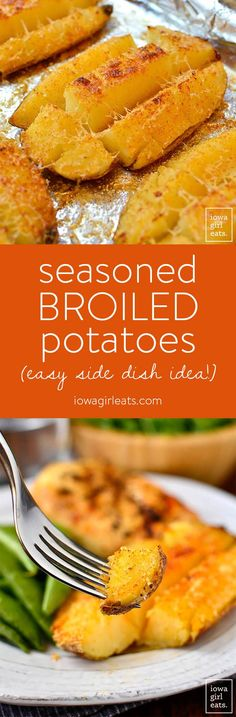 Seasoned Broiled Potatoes are an easy, gluten-free side dish that's delish any month of the year, but especially tasty during grilling season. | iowagirleats.com
