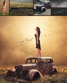 Dramatic Light Photo Manipulation Photoshop Tutorial [Old Car] In this Photoshop Tutorial, Learn how to create Young Girl stands on Photoshop Images, Creative Photoshop, Photoshop Design, Photoshop Tutorial, Photoshop Actions, Photoshop Elements, Adobe Photoshop, Conceptual Photography, Photoshop Photography